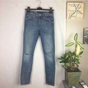 Gap 1969 True Skinny Distressed Blue Jeans 27P